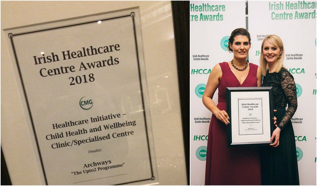 Karen Costello and Sarah Thornberry collecting certificate of nomination for the Upto2 Programme that was shortlisted for this year's Irish Healthcare Centre Awards under the Healthcare Initiative - Child Health and Wellbeing - Clinic/Specialised Centre. Congratulations to all involved.